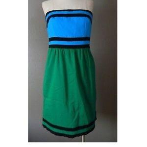 Strapless colorblock dress